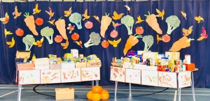 Westville House School Harvest Festival assembly a collection for the Ilkley food bank